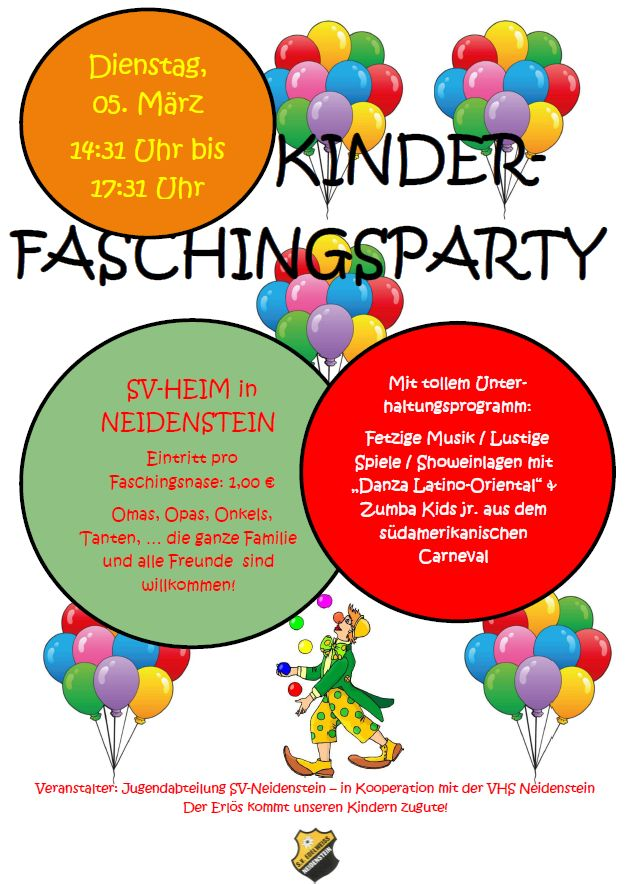SVN Kinderfasching 2019 flyer