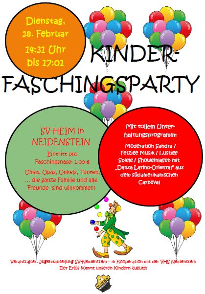 SVN Kinderfasching Plakat 2017